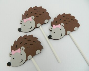 Hedgehog Cupcake Toppers Girl Hedgehog Decorations Hedgehog First Birthday Woodland Baby Shower Hedgehog Birthday Party • Set of 12