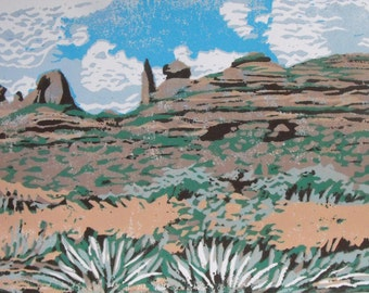 Original 7 colour linocut block print on white paper, relief print, South West View