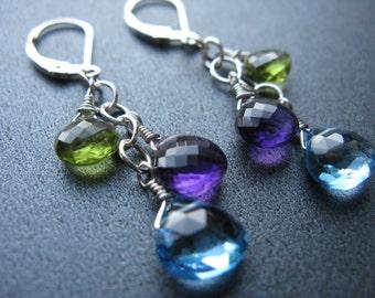 Amethyst Earrings, Swiss Blue Topaz Earrings, Peridot Earrings, Sterling Silver, Gemstone Earrings, Blue, Purple Green - Enchanted Garden