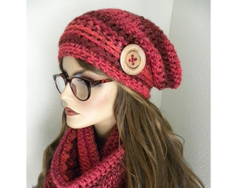 Winter Hat Set,  Red Striped Hat, Hat and Infinity Scarf, Red Tweed Infinity Scarf, Matching Hat & Scarf Set, Woman's Winter Accessories