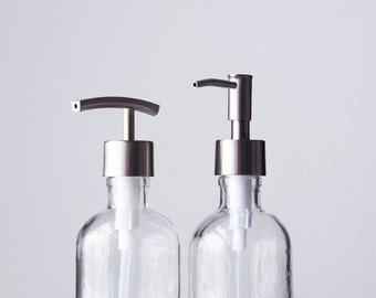glass soap dispenser with metal pump set w metal stand