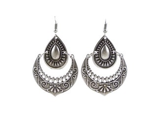 Silver Tribal Gypsy Bohemian Embossed Dangle Earrings