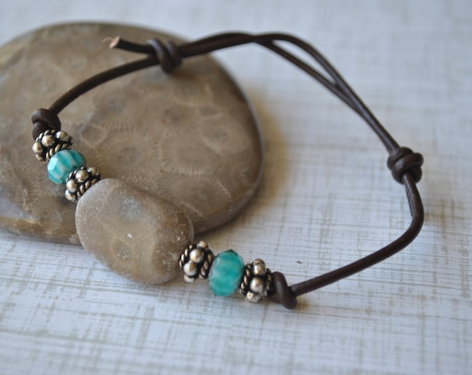 Petoskey Stone Bracelet on leather with teal beads, sterling silver beads, Up North, bracelet, Michigan