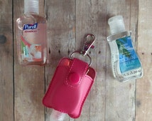 Small Hand Sanitizer Holder- Raspberry Vinyl with Snap, Great for Backpacks, Bags and Purses, Quick Ship, Choose from 24 Colors, Made in USA