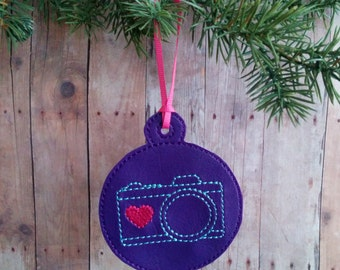 Camera Ornament, Vinyl in Choice of 31 Colors with Coordinating Embroidery, Ribbon Hanger, Great Photographer Christmas Gift, Made in USA