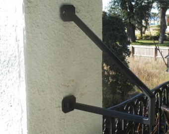 8 ft wrought iron hand rail wall rail stair step railing wall for Exterior wall mounted handrails for stairs