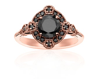 Deco Rose Gold & Black Diamond Ring - Engagement Alternative Wedding Deco