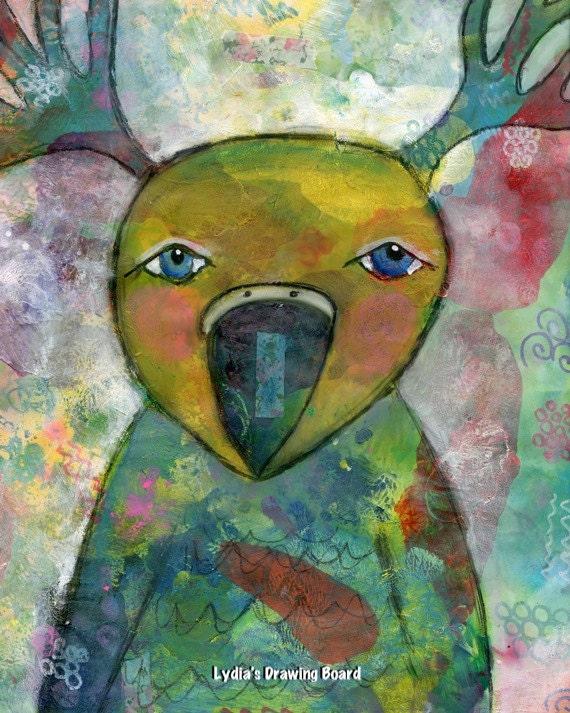 Mixed Media Art, Mixed Media, Bird Art, Bird Art Print, Bird Artwork, Deer Art, Deer Artwork, Deer Art Print, Mythical Creature,  Animal Art