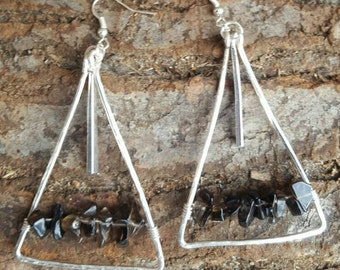 Hammered silver dangle earrings with Smoky quartz