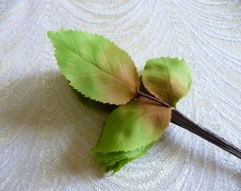 36 Vintage Millinery Leaves Shaded Silk Green Chartreuse Rose Ombre NOS Bunch from Germany for Hats Crafts Weddings 7LS0012G