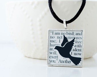 Jane Eyre Bird Necklace - Jane Eyre Necklace - Book Page Jewelry - Charlotte Bronte - Literary Quote