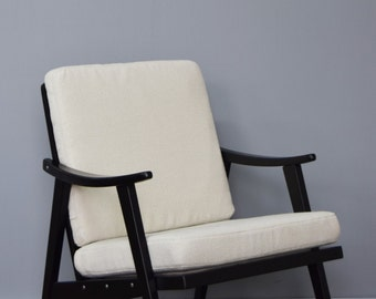 Restored Retro Chair in Cream Wool