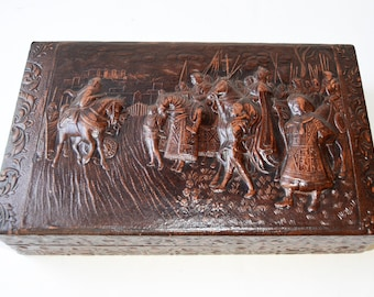 cigar box, cigar made of wood covered in leather embossed paper