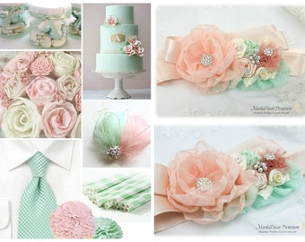 Wedding Sash Peach Mint Bridal Belt Jeweled Flower Sash Custom Beaded Belt in Ivory Blush Rose Peach Mint Aqua Beach Wedding