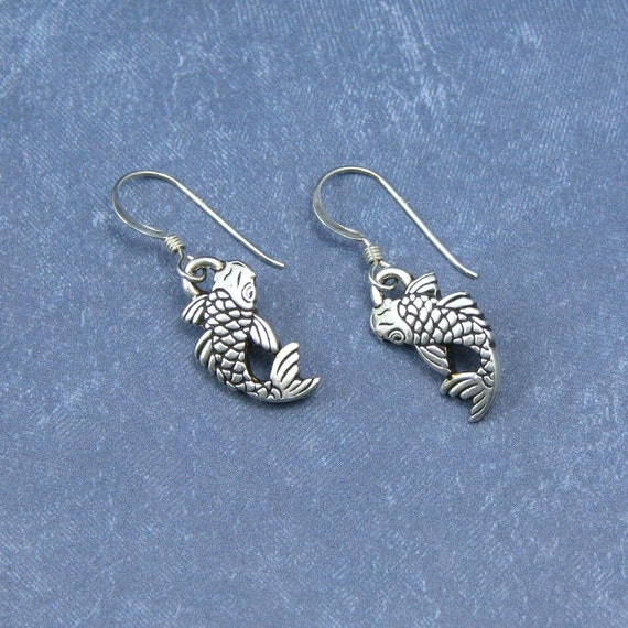 Silver koi fish earrings on sterling silver ear wires fish for Silver koi fish