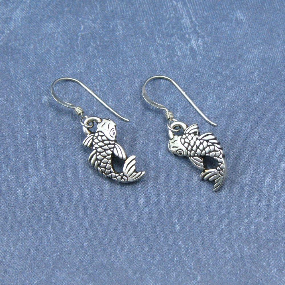 Koi Fisch Ohrringe Sterling Silber Ohr Drähte Fisch Ohrringe