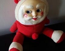 Vintage Santa Doll/ 1940s Santa Doll/ Plush Santa with hard Plastic face/ antique santa/ stuffed Santa Claus/creepy santa/ collectors toy