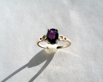 Natural Amethyst Faceted 8x6mm Oval Sterling Silver Ring Size 6.75 Vintage Purple Gemstone Jewelry hand made February Birthstone