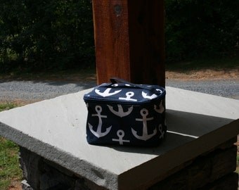 Girls Monogrammed Navy Anchor Make Up Bag Personalized Nautical Navy Cosmetic Case