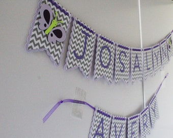 Baby Banner - Butterfly Party Banner -Personalized Banner - Baby Shower - Party Decor - Nursery Decoration