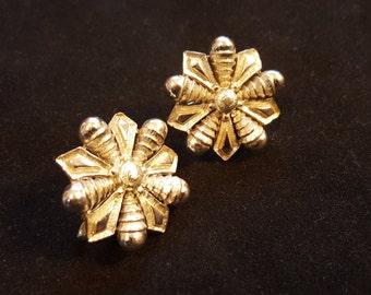 Vintage Coro Silver Snowflake Clip On Earrings