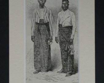 1880s Antique Singhalese Print, Available Framed, Buddhist Art, Sri Lanka Gift, Sri Lankan Wall Art, Ceylon Decor, Ethnic Traditional Dress