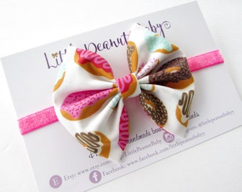 Donut Fabric Bow - iced donut bow - baby girl toddler bow