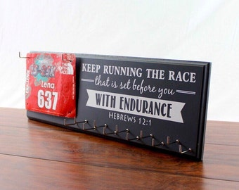 Gifts for runners etsy running medal holder runners medal rack race medal holder race bib holder negle Choice Image