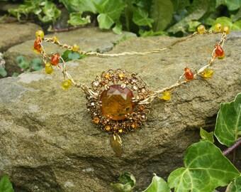 Sun goddess tiara/crown/coronet/ gold/amber/elven