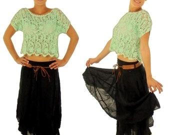 DP700MI ladies shirt top intermediate part of lace Mori girls Gr. XS mint