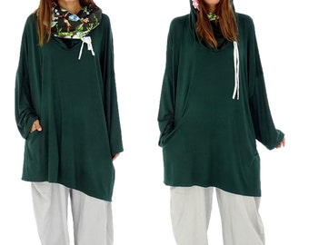 HR800GN1 tunic layered look shirt asymmetrical Gr. 40-52 green plus size Jersey vintage