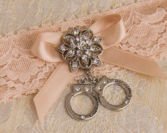 Handcuffs Charm, Police Charm, Cop, Handcuffs Pendant, Rhinestone handcuffs, Bridesmaids gift, Wedding favor, Garters are NOT included