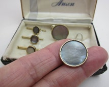 Anson Cuff Links & 3 Studs 1940s Mother of Pearl, Oyster Shell, Two Tone Gold Filled, Grey w. Rosey Overtones, Modernism, Original Box,USA.