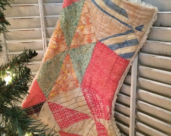 Quilted Christmas Stocking from Vintage Cutter Quilt #4
