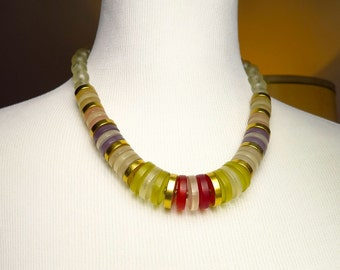 Vintage Lifesaver Lucite Chunky Necklace