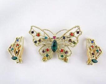 Vintage Dodds Butterfly Brooch Set, Multi-Colored & Green Rhinestone Brooch, Clip On Earrings, Gold Filigree
