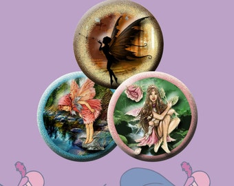 FAIRIES  -  Digital Collage Sheet - 1 inch round images for pendants, bottle caps, round bezel trays, etc.  Instant Download #56.
