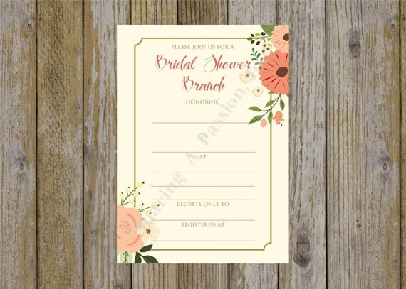 Items similar to bridal shower invitation fill in for Bridal shower fill in invitations