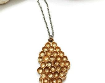 Beehive Necklace, Honeycomb, Bronze, Hive, Bronze Jewelry, Nature, Rustic, Handmade