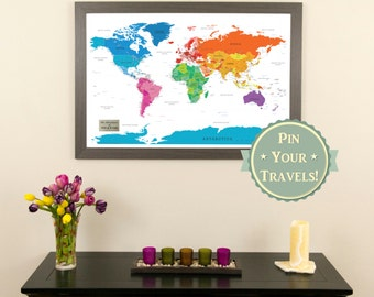 Executive world travel map with pins and frame push pin personalized colorful world push pin travel map with pins and frame kids room decor gumiabroncs Gallery
