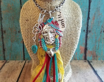 OOAK NaTiVe ChiEf Necklace > Turquoise & Red/ Native Jewelry/ OOAK/ Feathers/ Arrow/ Gypsy Cowgirl/ Bohemian/ Rustic/ Country/ Fringe/ Love