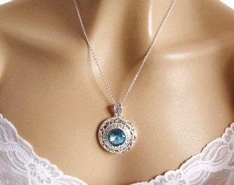 Blue Bridal Necklace, Swarovski Crystal Rhinestone Wedding Necklace, Aqua Wedding Jewelry, Blue Bridesmaid Necklace, Aquamarine Wedding Prom
