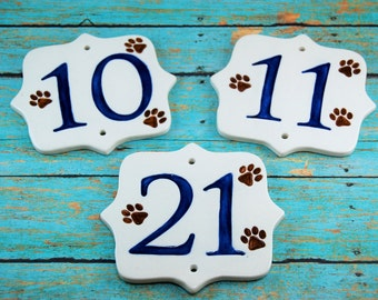 Ceramic Paw Print House Numbers, Paw House Numbers, Dog House Numbers, Cat Lover Numbers, Dog Numbers, Ceramic Numbers, Square Numbers