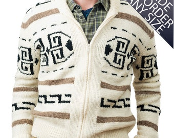 "Custom Big Lebowski Sweater ""The Dude Sweater"" Cowichan Style Men's Sweater Made to Order 925.MTO.z"