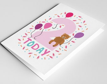 2 Year Old Birthday Card, Kids Birthdays Cards, Age Cards, Baby Card, Happy Birthday Card, Baby Girl Card, Two Year Old Birthday Girl