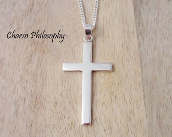 Large Cross Necklace - 925 Sterling Silver Jewelry - Personalized Initial and Birthstone - Mens Cross Necklace