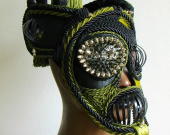 Steampunk Masquerade Mask, Green and Black Leather, Costume Mask - Ferryman Charon