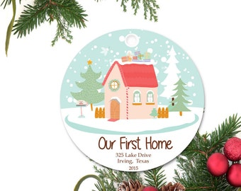 Our first Home Christmas Ornament, Personalized Christmas Ornament, Custom Family Ornament, Ceramic Holiday Ornament, Holiday Gift