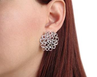 Honeycomb earrings, sterling silver earring studs, beehive earrings, hypoallergenic earring studs, big round earrings, unusual earrings