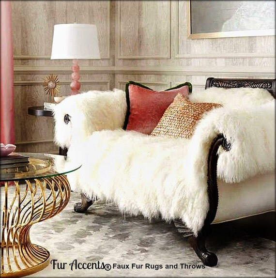 Dog Threw Up On Rug: Shaggy Mongolian Sheepskin Throw Blanket Sofa Cover By